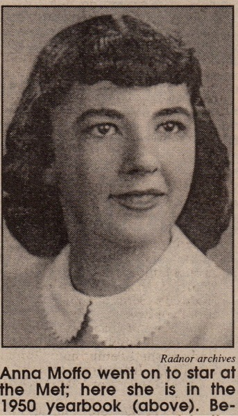 Anna Moffo 1950 HS Yearbook, soprano